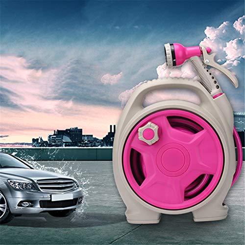 wyxhkj Versenkbare Schlauchleitung Faltbare Wasserschlauchspritze Schaumdüse Hochdruck 6 Muster Sprühmuster 44FT Rohrwasserspray Für Autowaschanlage und Terrassengarten (Hot Pink)