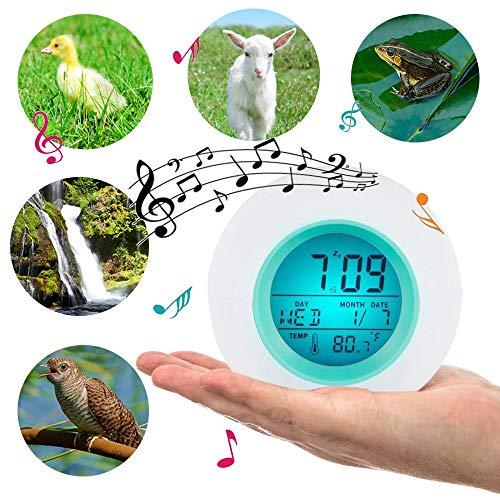 7 Ändern der Farben Aufwecken des Lichtweckers LCD-Licht Digitaler Wecker mit 6 Naturgeräuschen Schlummerfunktion