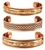 Touchstone Copper Magnetic Healing Bracelet Tibetan Style. Hand Forged with Solid and high Gauge Pure Copper. Set of 3 Different Designs in 3 Metals.