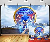 Gardenia backdrop Cartoon Sonic Birthday Themed Supplies Photo Photography Background 5x3ft Baby Shower Photo Booth Studio Props Boys Girls Happy Birthday Party Banner Decoration GM-29