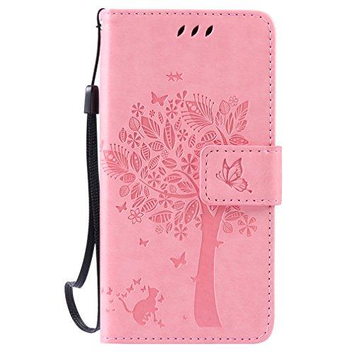 LMAZWUFULM Hülle für Huawei LUA-L21 /Y3 II 4,5 Zoll PU Leder Magnetverschluss Brieftasche Lederhülle Baum & Katzen Muster Standfunktion Schutzhülle Ledertasche Flip Cover Rosa