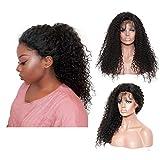 Andouy 24 Pouces Fashion Haute Qualité Perruque pour Femme, Style Naturel Perruque Synthétique Résistant à la Chaleur Bouclés Noir Long Cheveux Bouclé