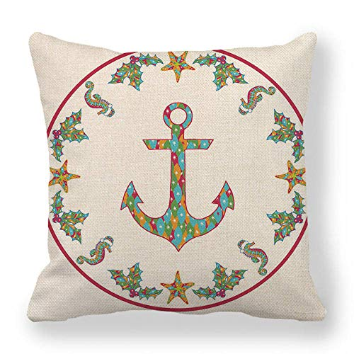 LPLH Hand-Painted Color Nautical Linen encrypted Fine Linen Pillowcase Cushion Cover Modern Minimalist Ym253-3_45*45cm