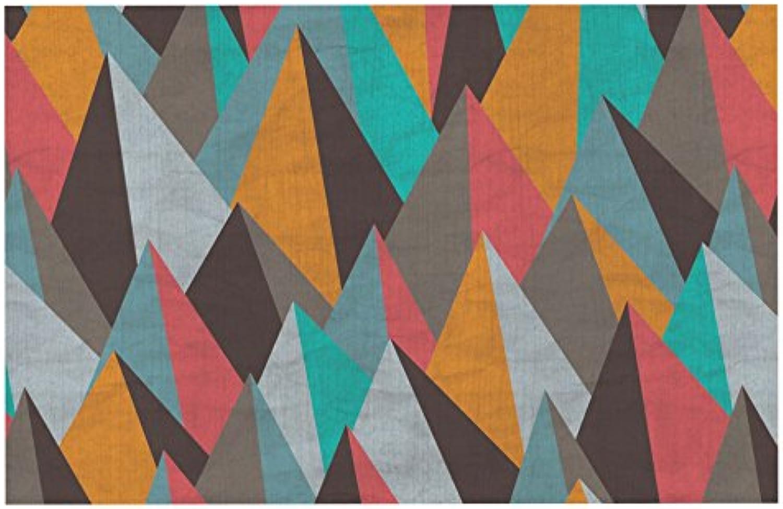 KESS InHouse MD1013ADM02 Michelle Drew Mountain Peaks I orange Teal Dog Place Mat, 24  x 15