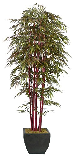 Laura Ashley 8 Foot Tall High End Silk Realistic Bamboo Tree with Decorative Planter