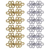 JZHBEI 12 Pairs Chinese Knots Frog Buttons Closure, Handmade Sewing Fasteners, for Sweater Cloak Coats Scarf Cardigan and Costumes Outfit Sewing, Gold and Silver