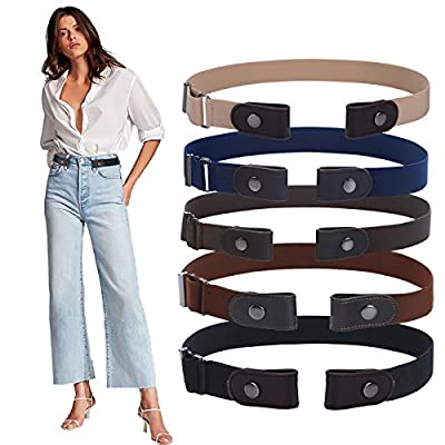 No Buckle Elastic Belt for Women - Invisible Waist Belts for Jeans Pants Dresses by WELROG-Black/Navy blue (brown leather)