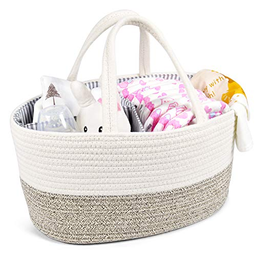 Baby Diaper Caddy Organizer - Changing Table Organizer Basket - Portable Rope...
