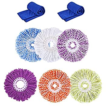 ANSLYQA 6+2 Pcs Spin Mop Replacement Heads  6.3 Inch Diameter  Microfiber Mop Refills for EasyWring 360° Spin Mop Include Cleaning Cloths,Round  Multicolor