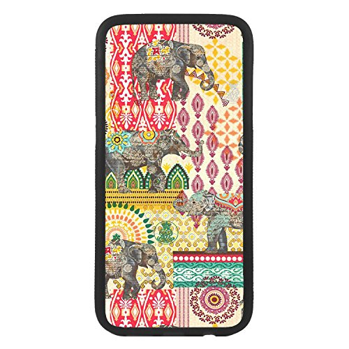afrostore Funda Carcasa de móvil para Apple iPhone 7 Elefantes Cachemir TPU Borde Negro