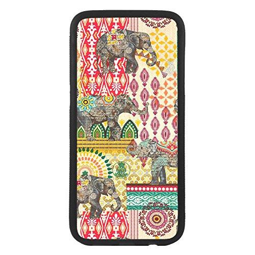 afrostore Funda Carcasa de móvil para Apple iPhone 7 Elefantes Cachemir TPU Borde Negro