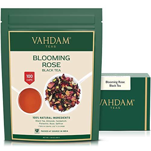 VAHDAM, Blooming Rose Tee (100 Tassen)   100% natürliche schwarze Teeblätter, Rosenblüten, Mandeln, Kardamom, Pistazien   DELICIOUS & AROMATIC Schwarzer Tee Loose Leaf   200gm