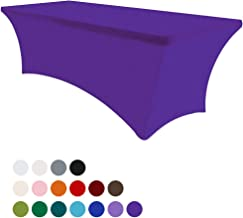 Eurmax 6Ft Rectangular Fitted Spandex Tablecloths Wedding Party Table Covers Event Stretchable Tablecloth (Purple)
