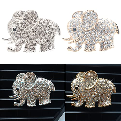 HungMieh 2PCS Bling Car Accessories for Women, Rhinestone Car Décor Interior, Car Charm Air Vent Clip with Cotton Pads for Fragrance, Elephant (Gold and Silver)