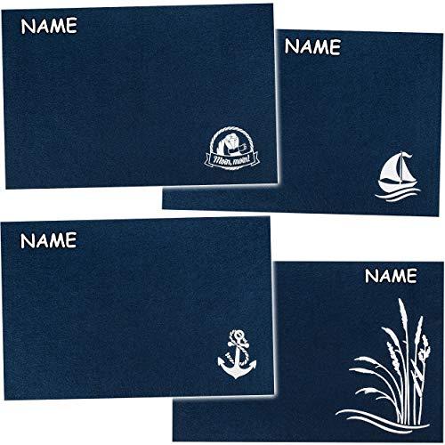 alles-meine.de GmbH 4 Stück _ Filz - Unterlagen / Platzdeckchen / Platzset & Tischset - Maritim - Boot / Anker / Möwe - inkl. Name - dunkel blau - 45 cm * 30 cm - eckig - waschba..