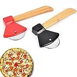 Gfdg Cortador de Pizza,2 Piezas Pizza de Antiadherente Cortapizzas,Cortador de Pizza de Acero Inoxidable,Cortador de Pizza con Mango de Madera,con Mango Antideslizante,Forma de Hacha,para Pizza,Pan