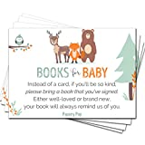 50 Books for Baby Shower Request Cards for Boy or Girl (50 Pack) - Bring a Book Instead of a Card - Baby Shower Invitations Inserts Games Decorations Supplies - Woodland