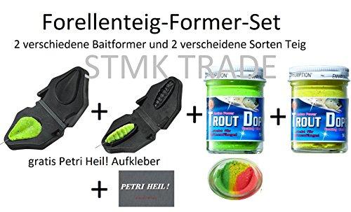 Jenzi Set: Forellenteig Former in Tropfen-& Bienenmaden-Form + 2X Forellenteig (Rainbow Glitter & Gelb Knoblauch) & gratis Petri Heil! Aufkleber