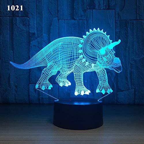dashaguo Luz De Noche 3D Dinosaurio Casero Lámpara De Escritorio Led Colorida Fuente De Alimentación USB Dormitorio Luz De Regalo Creativo, 1021, Modelo De Audio + Botón Multicolor