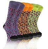 Sesto Senso Calcetines Loco Funky Gracioso Vistoso Hombre Mujer Pack de 3 Oddsocks Estampado Diferente Las Manchas 35-38 3 Leopardo