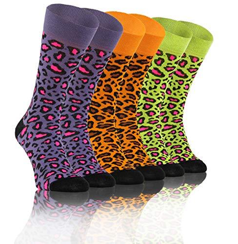 Sesto Senso Lustige Bunte Verrückt Socken Baumwolle Damen Herren 3 Pack Gemusterte Ungleiche Funny Socks Oddsocks gefleckte Katze 43-46 3 Gepard