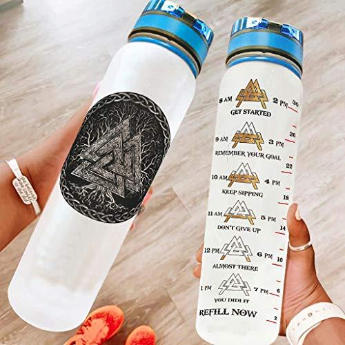 Ftcbrgifk Botella de agua deportiva de 1000 ml Vik-ing a prueba de fugas, botella de agua potable de plástico para senderismo con marcador de tiempo motivacional blanco 1000 ml