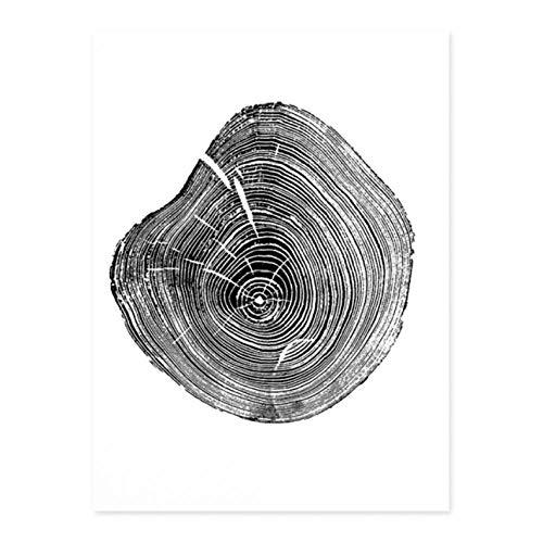 Rjunjie jaarringen boom print op canvas in zwart en wit schilderij schilden afdrukken wandafbeeldingen voor woonkamer decoratie thuis (40 x 60 cm zonder lijst)