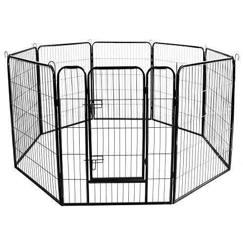 Meihua Dog Playpen Heavy Duty Foldable Metal Pet Pens,Dog Exercise Fence Indoor Outdoor 8 Panels