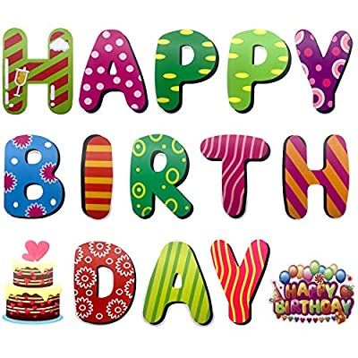 Alpurple 15 PCS Happy Birthday Yard Sign with Stakes-11.8 Inch Colorful Outdoor Happy Birthday Lawn Sign Decor-Weatherproof Corrugated Plastic Birthday Party Decorations