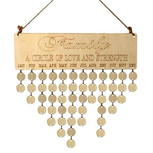 Décorations de Noël,Fulltime®Famille à suspendre Calendrier Planche en bois anniversaire rappel Plaque Home Decor (A)