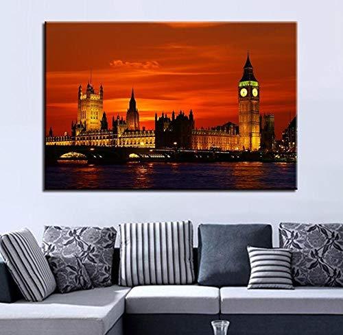 Preisvergleich Produktbild XuFan Landschaft Wandkunst Leinwand Malerei Dekoration HD Drucke Bilder Kunstwerk Poster Wohnzimmer Dekor 50cm x75cm Kein Rahmen