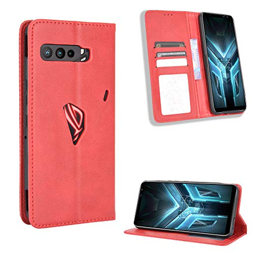 Lederhülle für Asus ROG Phone 3 ZS661KS Hülle, Flip Hülle Schutzhülle Handy mit Kartenfach Stand & Magnet Funktion als Brieftasche, Tasche Cover Etui Handyhülle für Asus ROG Phone 3 ZS661KS, Rot
