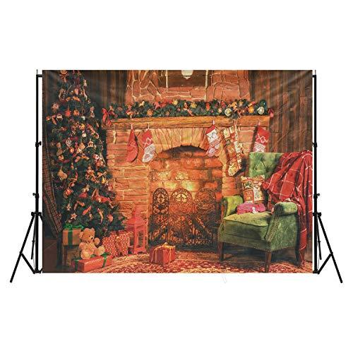 MASUNN 7X5Ft Kerstmis Open haard kerstboom Sofa Gift Sokken Fotografie Achtergrond Studio Prop Achtergrond