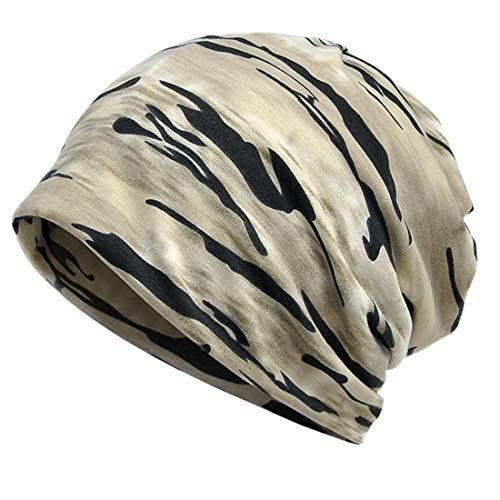 YONKINY Hombres Mujer Gorros Slouchy Beanie Algodón Pañuelo Cabeza Gorro Caído de Punto Turbante Sombrero Verano Delgado para Quimioterapia Bicicleta Running (Caqui)