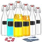 Praknu 6 Glasflaschen mit Bügelverschluss 500ml - 6 Extra Dichtungen und 12 Etiketten mit Stift