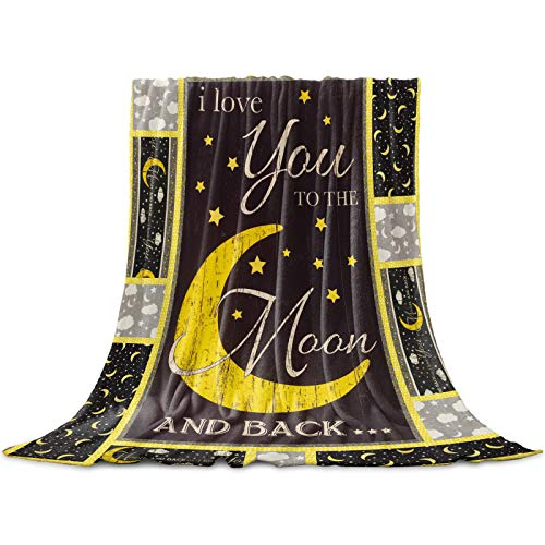 "Cozy Warm Lightweight Throw Blankets, Bright Moon and the Shiny Stars I Love You Every Day - Soft Flannel Fleece Bed Throw Luxury Fuzzy Blankets for Adults/Girls/Kids/Boys/Dogs/Couch, 50""W x 60""L"