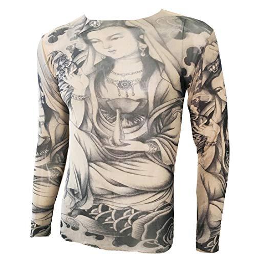 OMAS Boeddha Cloud Tattoo Sport T-Shirt Tattoo Tops Biker Fietsen Fitness Plus Size