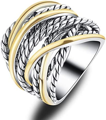 Mytys 20mm Silver Gold Wide Band Ring 2 Tone Crisscross Intertwined Chunky Rings Unisex Couple product image