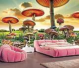 Papel Pintado Pared Papel Dormitorio Salon Decoración de Paredes Paisaje De Dibujos Animados De Setas Gigantes Fotomural 3D Papel Tapiz Custom Mural Pared 300x210cm