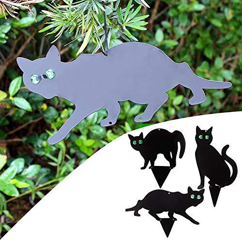 josietomy Scare Cats, Metal Garden Scarers Cats con ojos de mármol reflectantes, resistente a la intemperie, ganchos incluidos