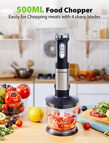 Elechomes-4-in-1-Hand-Immersion-Blender-800W-Powerful-Motor-304-Stainless-Steel-Stick-Blender-Rich-Accessories-include-Large-800ml-Mixing-Beaker-and-Egg-Whisk-500ml-Food-Chopper-BPA-Free