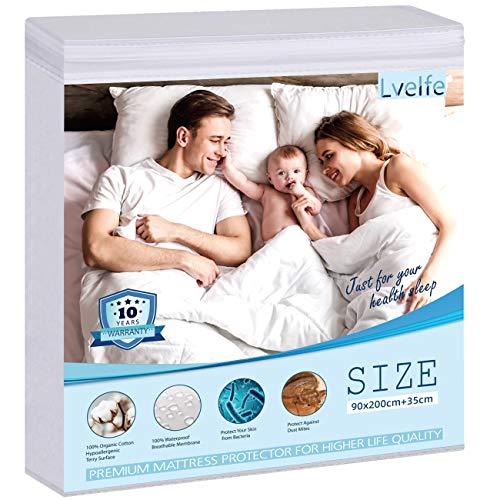 Lvelfe Alèse imperméable 90 x 200 cm, protège-matelas, 100 % coton bio, hygiénique, imperméable, anti-acariens, alèse respirante, Mattress Protector Waterproof