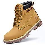 Otoño Invierno Hombres Mujeres Botas de Trabajo Zapatos de Seguridad en el Trabajo Protección Anti-perforación Zapatos de Seguridad con Punta de Acero Hombres-H215 Amarillo_45