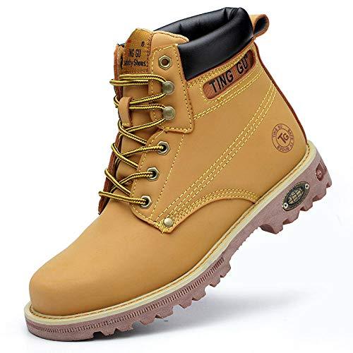 Otoño Invierno Hombres Mujeres Botas de Trabajo Zapatos de Seguridad en el Trabajo Protección Anti-perforación Zapatos de Seguridad con Punta de Acero Hombres-H215 Amarillo_42