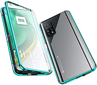 Jonwelsy Magnetic Adsorption Case for Xiaomi Mi 10T/mi 10T pro, 360 Degree Front and Back Clear Tempered Glass Flip Cover,...