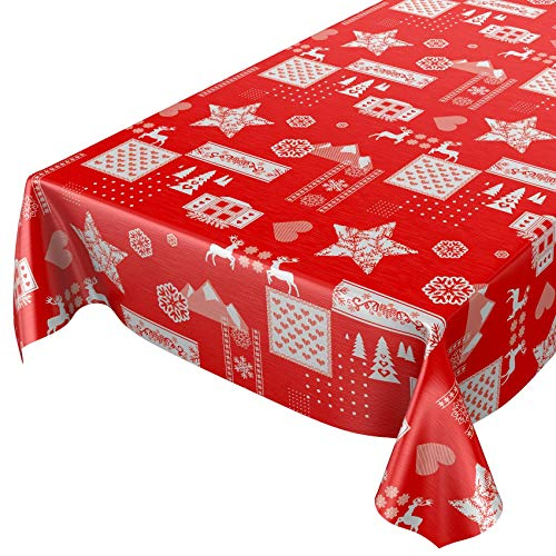 ANRO Hule Mantel Hule Lavable Mantel navideño ánimo Rojo 140x 140cm, Borde de Corte