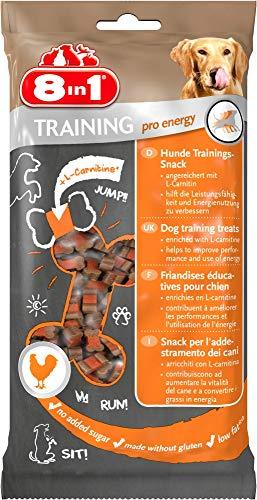 8in1 Training Pro Energy Snack - fettarme Hunde-Leckerlis mit Huhn, ohne Gluten und ohne Zusatz von Zucker, 100g Leckerli Beutel