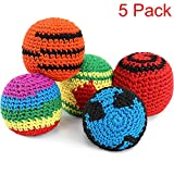 Blulu 5 Pieces Funny Hacky Ball Sacks Assoerted Colors Woven Kickball Soft Knitted Kick Balls for Children and Beginners