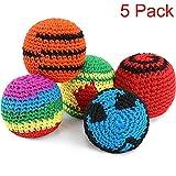 5 Piezas de Pelotas Tejidas de Multicolor Kickball Tejido Suave Bolas Hacky para Niños y Principiantes (5 Piezas)
