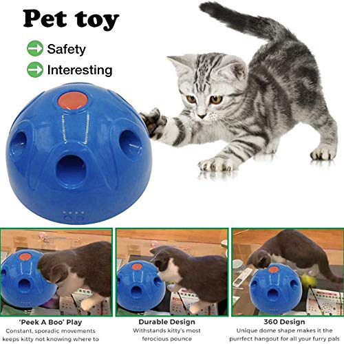 Price comparison product image HOTFUN Interactive Motion Cat Toy, Pop N Play Cat Toys Electronic Automatic Rotating Teaser, Mouse Squeak Sound Optional & Auto Shut Off, Cat Kitten Automatic Spinning Chase Toy(USB Charging)